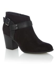 Black Ankle Strap Block Heel Boots