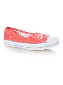 Girls Plain Pink Canvas Trainers