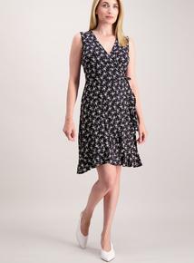 Online Exclusive Black Floral Jersey Wrap Dress