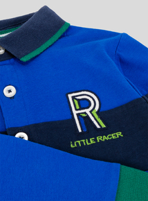 Blue Long Sleeve Stripe Rugby Shirt (9 Months- 6 Years)