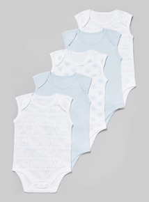 5 Pack Blue and White Sleeveless Bodysuits (Tiny baby - 36 months)