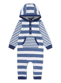 Blue Striped Hooded Romper  (0-12 months)
