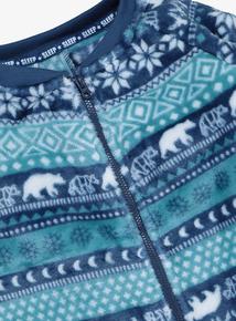 Blue Polar Bear Fairisle Fleece All In One (3-12 years)