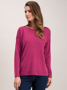 Purple Soft Touch Button Shoulder Jumper