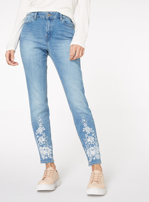 Mid Denim Floral Embroidered Skinny Jeans
