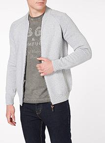 Grey Basket Stitch Knitted Raglan Bomber