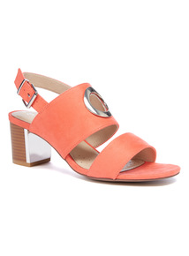 Sole Comfort Orange Ring Block Heel Sandals