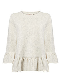 Cream Peplum Sweat