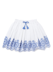 White Broderie Border Embroidered Skirt (3-14 years)