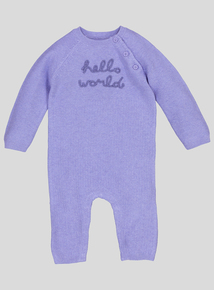 Cornflower Blue Knitted Romper Suit (Newborn - 12 Months)