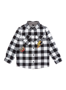 Monochrome Applique Check Shirt (9 months-6 years)