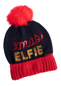 Navy 'Xmas Elfie' Knitted Hat