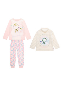 Kids Pink The Snowman And The Snowdog Set