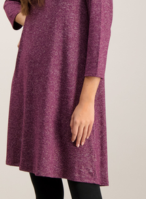 Berry Red Knit Look Swing Dress