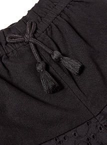 Black Broderie Woven Shorts (3-14 years)