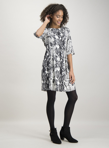 Monochrome Snake Print Tea Dress