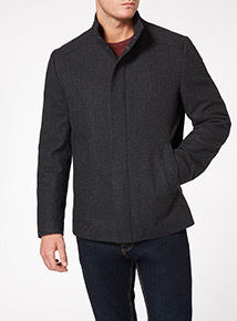 Charcoal Wool Funnel Neck Coat