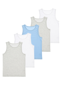 Multicoloured Vests (18 mohths-12 years) 5 Pack
