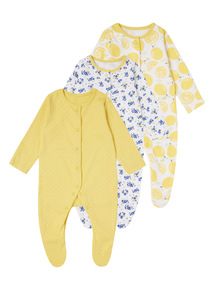 Yellow Patterned Sleepsuits 3 Pack (0 - 24 months)