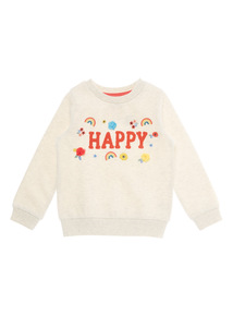 Cream Happy Appliqué Sweater (9 months - 6 years)