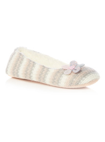 Pink Striped Knitted Ballerina