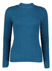 Petrol Blue Ribbed Turtle Neck Jumper
