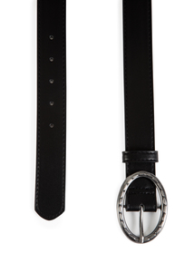 Black Belt With Oval Silver Buckle