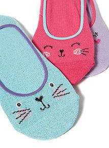 3 Pack Multicoloured Cat Footsies (4 infant - 5.5 adult)