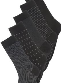 5 Pack Black Stay Fresh Socks