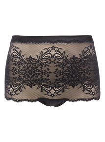 Black Bandeau Firm Control Lace Briefs