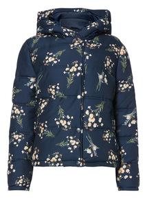 Navy Fashion Cropped Printed Jacket