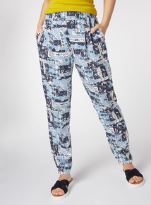 Floral Print Pleated Cuff Trousers