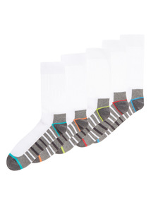 White Stripe Sports Sock 5 Pack