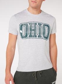 Grey 'Ohio' Print T-Shirt