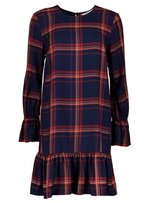 Multicoloured Check Drop Hem Dress