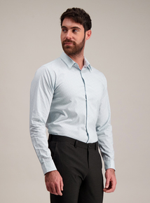 Pale Blue Floral Slim Fit Shirt