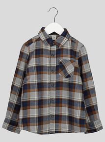 Navy and Mustard Checked Shirt (3-14 years)