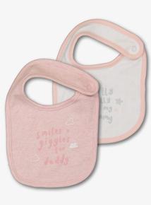Pink Mummy & Daddy Slogan Bibs 2 Pack (One Size)