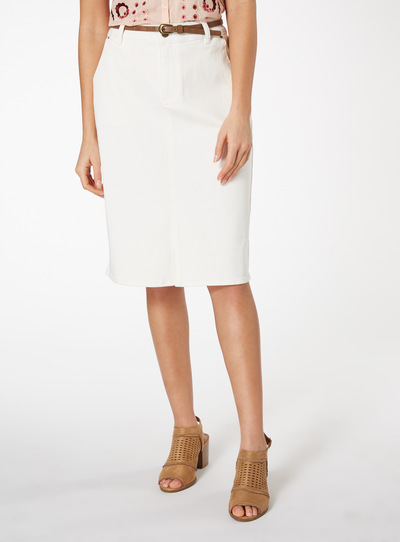 Cream Denim Belted Pencil Skirt