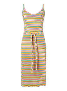 Multicoloured Stripe Cami Midi Dress