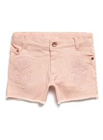 Pink Denim Embroidered Shorts (3-14 years)