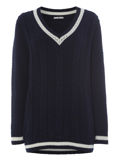 2a5a13df176 Womens Navy Cable Knit Cricket Jumper
