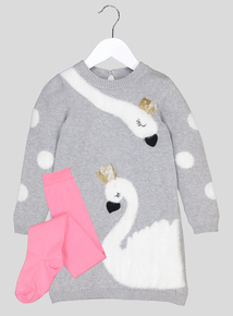 Grey & Pink Swan Motif Knitted Dress With Pink Tights