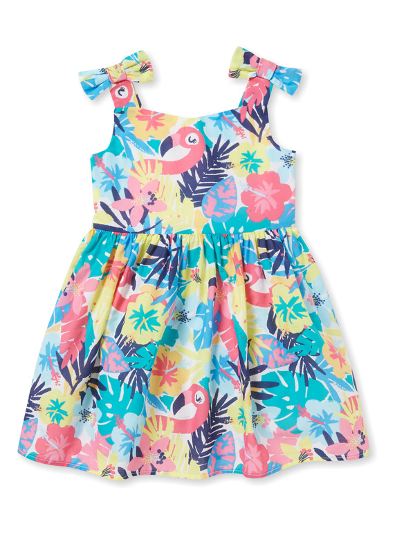Multicoloured Floral Flamingo Occasion Dress (9 months-6 years)