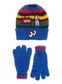Multicoloured Bright Badged Knitted Hat and Glove Set (1-12 years)