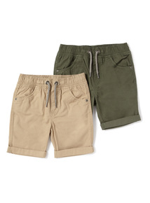 2 Pack Khaki and Stone Rib Waist Twill Shorts