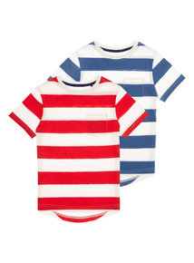Boys Blue and Red Fashion Tees 2 Pack (3-12 years)
