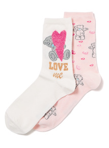 2 Pack Multicoloured Tatty Teddy Love Socks