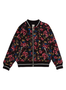 Girls Black Lace Floral Bomber (3-14 years)