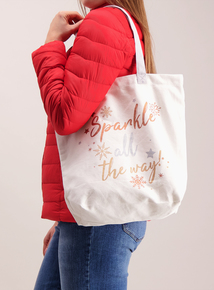 Cream Christmas 'Sparkle All The Way' Canvas Bag